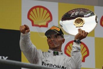 World © Octane Photographic Ltd. F1 Belgian GP - Spa-Francorchamps, Sunday 25th August 2013 - Podium. Mercedes AMG Petronas F1 W04 – Lewis Hamilton (3rd). Digital Ref : 0798lw1d0753