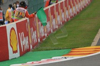 World © Octane Photographic Ltd. F1 Belgian GP - Spa-Francorchamps, Saturday 24th August 2013 - Practice 3. Green flag. Digital Ref : 0792lw1d8765