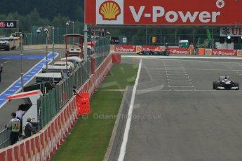 World © Octane Photographic Ltd. F1 Belgian GP - Spa-Francorchamps, Saturday 24th August 2013 - Practice 3. Williams FW35 - Pastor Maldonado and Infiniti Red Bull Racing RB9 - Mark Webber. Digital Ref : 0792lw1d8808