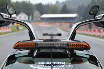 World © Octane Photographic Ltd. F1 Belgian GP - Spa-Francorchamps, Sunday 25th August 2013 - Race Build up. The Mercedes-Benz SLS safety car on the grid with La Source hairpin in the distance. Digital Ref : 0797cb7d3199