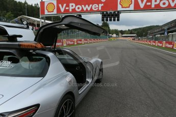 World © Octane Photographic Ltd. F1 Belgian GP - Spa-Francorchamps, Sunday 25th August 2013 - Race Build up. The Mercedes-Benz SLS safety car on the grid with La Source hairpin in the distance. Digital Ref :