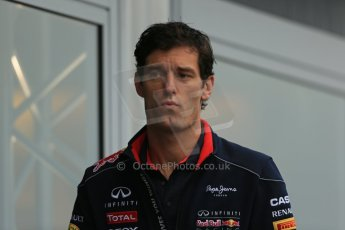 World © Octane Photographic Ltd. F1 Belgian GP - Spa-Francorchamps, Saturday 24th August 2013 - Paddock. Infiniti Red Bull Racing RB9 - Mark Webber. Digital Ref : 0791lw1d8174