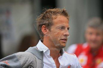 World © Octane Photographic Ltd. F1 Belgian GP - Spa-Francorchamps, Saturday 24th August 2013 - Paddock. Vodafone McLaren Mercedes MP4/28 - Jenson Button. Digital Ref : 0791lw1d8198