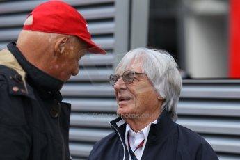 World © Octane Photographic Ltd. F1 Belgian GP - Spa-Francorchamps, Sunday 25th August 2013 - Paddock. Bernie Ecclestone and Niki Lauda. Digital Ref : 0795lw1d9894