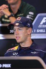 World © Octane Photographic Ltd. F1 Belgian GP - Spa - Francorchamps. Thursday 22nd August 2013. FIA Press Conference. Infiniti Red Bull Racing RB9 - Sebastian Vettel. Digital Ref : 0782lw2d6890