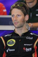 World © Octane Photographic Ltd. F1 Belgian GP - Spa - Francorchamps. Thursday 22nd August 2013. FIA Press Conference. Lotus F1 Team E21 - Romain Grosjean. Digital Ref : 0782lw2d7069