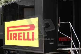 World © Octane Photographic Ltd. GP2 Paddock, Belgian GP, Spa Francorchamps, Thursday 22nd August 2013. Pirelli logo. Digital Ref :