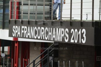 World © Octane Photographic Ltd. GP2 Paddock, Belgian GP, Spa Francorchamps, Thursday 22nd August 2013. Spa Francorchamps 2013 sign. Digital Ref : 0781cb7d1778