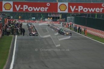 World © Octane Photographic Ltd. GP2 Belgian GP, Spa Francorchamps, Sunday 25th August 2013. Race 2. The grids starts to clear ready for the green flag lap. Digital Ref : 0796lw1d0221