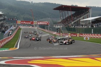World © Octane Photographic Ltd. GP2 Belgian GP, Spa Francorchamps, Sunday 25th August 2013. Race 2. James Calado – ART Grand Prix leads the pack into turn 1 on the opening lap. Digital Ref : 0796lw1d9937