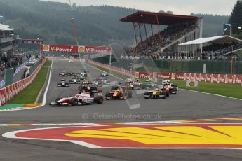 World © Octane Photographic Ltd. GP2 Belgian GP, Spa Francorchamps, Sunday 25th August 2013. Race 2. James Calado – ART Grand Prix leads the pack into turn 1 on the opening lap. Digital Ref : 0796lw1d9941