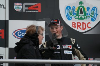 World © Octane Photographic Ltd. Brands Hatch, Race 2 Podium, Saturday 23rd November 2013. BRDC Formula 4 Winter Series, MSV F4-13,  – Kieran Vernon - Hillspeed. Digital Ref : 0865lw1d7118