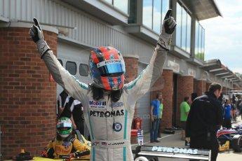 World © Octane Photographic Ltd. British Formula 3 – Brands Hatch. Saturday 10th August 2013 – Race 1. Race winner Jazeman Jaafar celebrates in parc ferme– Carlin – Dallara F312 Volkswagen. Digital Ref : 0777lw1d6472