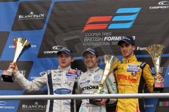 World © Octane Photographic Ltd. British Formula 3 – Brands Hatch. Saturday 10th August 2013 – Race 1. Race winner Jazeman Jaafar (Carlin) with 2nd place Jordan King (Carlin) and Antonio Giovinazzi (Double R). Digital Ref : 0777lw7d1261