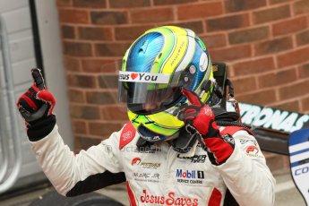 World © Octane Photographic Ltd. British Formula 3 – Brands Hatch. Saturday 11th August 2013 – Race 2. Race winner Felipe Lopes Guimaraes celebrates in parc ferme – Fortec Motorsport – Dallara F312 HWA Mercedes. Digital Ref :