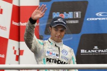 World © Octane Photographic Ltd. British Formula 3 – Brands Hatch. Saturday 11th August 2013 – Race 2. International championship podium - Jazeman Jaafar (Carlin). Digital Ref :