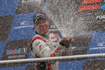 World © Octane Photographic Ltd. British Formula 3 – Brands Hatch. Saturday 11th August 2013 – Race 2. International championship podium - Felipe Lopes Guimaraes (Fortec Motorsport) celebrates. Digital Ref :