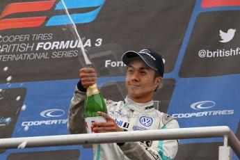 World © Octane Photographic Ltd. British Formula 3 – Brands Hatch. Saturday 11th August 2013 – Race 2. International championship podium - Jazeman Jaafar (Carlin) celebrates. Digital Ref :