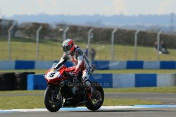 World © Octane Photographic Ltd. MCE Insurance British Superbike Championship (BSB) Test day – Donington Park, 14th March 2013. Mateo Baiocco – Rapido Sport Racing Ducati. Digital Ref : 0588lw1d4478