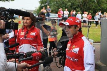 World © Octane Photographic Ltd. GP2 British GP, Silverstone, Thursday 27th June 2013. Felipe Massa - Scuderia Ferrari - Shell Towcester Pit Stop. Digital Ref : 0723lw1d2369