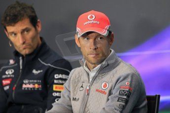 World © Octane Photographic Ltd. F1 British GP - Silverstone, Thursday 27th June 2013. Vodafone McLaren Mercedes - Jenson Button and Infiniti Red Bull Racing  - Mark Webber. Digital Ref : 0723lw7dx0207