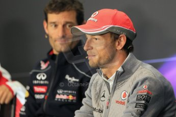 World © Octane Photographic Ltd. F1 British GP - Silverstone, Thursday 27th June 2013. Vodafone McLaren Mercedes - Jenson Button and Infiniti Red Bull Racing - Mark Webber. Digital Ref : 0723lw7dx0293