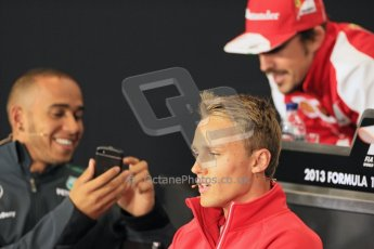 World © Octane Photographic Ltd. F1 British GP - Silverstone, Thrusday 27th June 2013. Scuderia Ferrari F138 - Fernando Alonso chatting with Lewis Hamilton - Mercedes. Digital Ref : 0723lw7dx9918