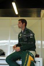 World © Octane Photographic Ltd./Carl Jones. Caterham F1 Team with Alexander Rossi demos at Silverstone, 20th October 2013. Digital Ref : 0845cj7d0015