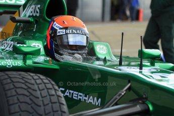 World © Octane Photographic Ltd./Carl Jones. Caterham F1 Team with Alexander Rossi demos at Silverstone, 20th October 2013. Digital Ref : 0845cj7d0157