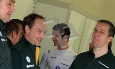World © Octane Photographic Ltd./Carl Jones. Caterham F1 Team with Alexander Rossi demos at Silverstone, 19th October 2013. Digital Ref : 0845cj7d0012