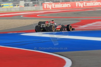 World © Octane Photographic Ltd. F1 USA GP - Austin, Texas, Circuit of the Americas (COTA), Friday 15th November 2013 - Practice 1. Lotus F1 Team E21 - Romain Grosjean. Digital Ref : 0853lw1d2726