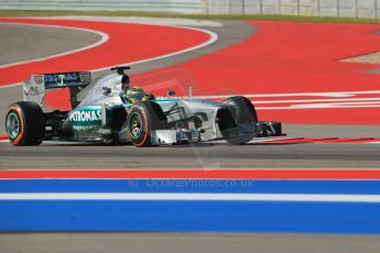World © Octane Photographic Ltd. F1 USA GP - Austin, Texas, Circuit of the Americas (COTA), Friday 15th November 2013 - Practice 1. Mercedes AMG Petronas F1 W04 - Nico Rosberg. Digital Ref : 0853lw1d3080