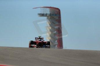 World © Octane Photographic Ltd. F1 USA GP, Austin, Texas, Circuit of the Americas (COTA), Friday 15th November 2013 - Practice 2. Scuderia Ferrari F138 - Felipe Massa. Digital Ref : 0854lw1d3805