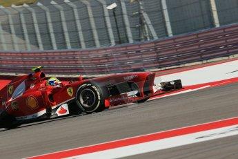 World © Octane Photographic Ltd. F1 USA GP, Austin, Texas, Circuit of the Americas (COTA), Friday 15th November 2013 - Practice 2. Scuderia Ferrari F138 - Felipe Massa. Digital Ref : 0854lw1d4253