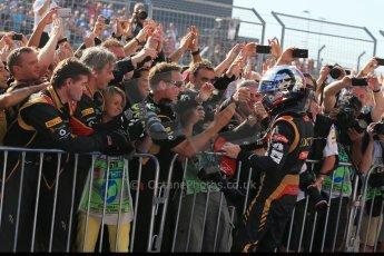 World © Octane Photographic Ltd. F1 USA GP, Austin, Texas, Circuit of the Americas (COTA), Sunday 17th November 2013 - Post-Race Parc Ferme. Lotus F1 Team - Romain Grosjean. Digital Ref : 0862lw1d6183