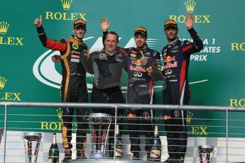 World © Octane Photographic Ltd. F1 USA GP, Austin, Texas, Circuit of the Americas (COTA), Sunday 17th November 2013 - Podium. Infiniti Red Bull Racing - Sebastian Vettel (1st), Lotus F1 Team - Romain Grosjean (2nd) and Infiniti Red Bull Racing - Mark Webber (3rd). Digital Ref : 0862lw1d6466