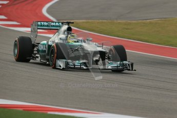 World © Octane Photographic Ltd. F1 USA GP, Austin, Texas, Circuit of the Americas (COTA), Saturday 16th November 2013 - Practice 3. Mercedes AMG Petronas F1 W04 - Nico Rosberg. Digital Ref : 0857lw1d4865
