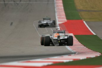 World © Octane Photographic Ltd. F1 USA GP, Austin, Texas, Circuit of the Americas (COTA), Saturday 16th November 2013 - Practice 3. Sahara Force India VJM06 - Adrian Sutil and Mercedes AMG Petronas F1 W04 – Lewis Hamilton. Digital Ref : 0857lw1d5334