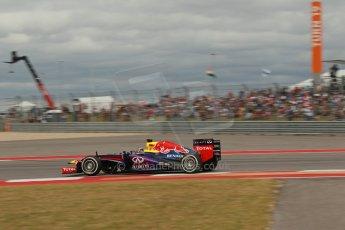 World © Octane Photographic Ltd. F1 USA GP, Austin, Texas, Circuit of the Americas (COTA), Saturday 16th November 2013 - Qualifying. Infiniti Red Bull Racing RB9 - Sebastian Vettel. Digital Ref : 0858lw1d2059