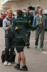 World © Octane Photographic Ltd. USA F1 Grand Prix, Austin, Texas, Circuit of the Americas (COTA). Paddock, Thursday 14th November 2013. Heikki Kovalainen - Lotus F1 Team. Digital Ref : 0852lw1d1088