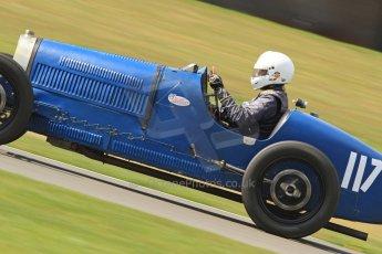 World © Octane Photographic Ltd. Donington Historic Festival, Friday 3rd May 2013. HGPCA Nuvolari Trophy pre-1940 GP cars with Hall and Hall. Bugatti T37A - Mark Valvekens. Digital Ref : 0645cb7d0085