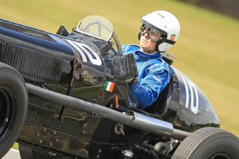 World © Octane Photographic Ltd. Donington Historic Festival, Friday 3rd May 2013. HGPCA Nuvolari Trophy pre-1940 GP cars with Hall and Hall. 1936 ERA R10B - Paddins Rowlins. Digital Ref : 0645cb7d0149