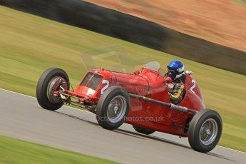 World © Octane Photographic Ltd. Donington Historic Festival, Friday 3rd May 2013. HGPCA Nuvolari Trophy pre-1940 GP cars with Hall and Hall. 1935 Maserati 4CM - Simon Edwards. Digital Ref : 0645cb7d8298