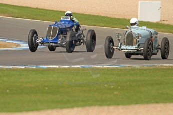 World © Octane Photographic Ltd. Donington Historic Festival, Friday 3rd May 2013. HGPCA Nuvolari Trophy pre-1940 GP cars with Hall and Hall. Maserati 8CM - Robert Newall and Bugatti T39 - David Hands. Digital Ref : 0645cb7d9999