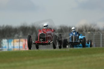 World © Octane Photographic Ltd. Donington Historic Festival, Friday 3rd May 2013. HGPCA Nuvolari Trophy pre-1940 GP cars with Hall and Hall. Alfa Romeo P3 Tipo B (Scuderia Ferrari) - Tony Smith and ERA R4A - Nicholas Topliss/James Baxter. Digital Ref : 0645lw1d7241