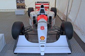 World © Octane Photographic Ltd. Donington Historic Festival, Friday 3rd May 2013. Ayrton Senna Car Display. McLaren MP4/8 Digital Ref : 0646cb7d7989