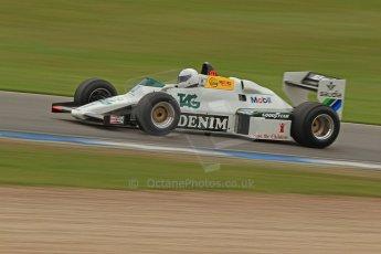 World © Octane Photographic Ltd. Donington Historic Festival, Friday 3rd May 2013. Ayrton Senna Car Demonstrations. Williams FW08C driven by Rob Hall. Digital Ref : 0646cb7d8329