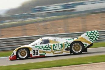 """World © Octane Photographic Ltd/Chris Enion. Donington Park General un-silenced test 25th April 2013. Henrik Linberg - Porsche 962C Dauer Racing """"Tic Tac"""" - Group C (Gp.C) Racing. Digital Ref : 0641ce1d2644"""