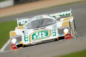 """World © Octane Photographic Ltd/Chris Enion. Donington Park General un-silenced test 25th April 2013. Henrik Linberg - Porsche 962C Dauer Racing """"Tic Tac"""" - Group C (Gp.C) Racing. Digital Ref : 0641ce7d6887"""