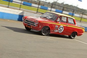 World © Octane Photographic Ltd. Donington Park General un-silenced testing, April 30th 2013. Mike Gardner/Niki Faulkner - Lotus Cortina. Digital Ref : 0643cb7d7350